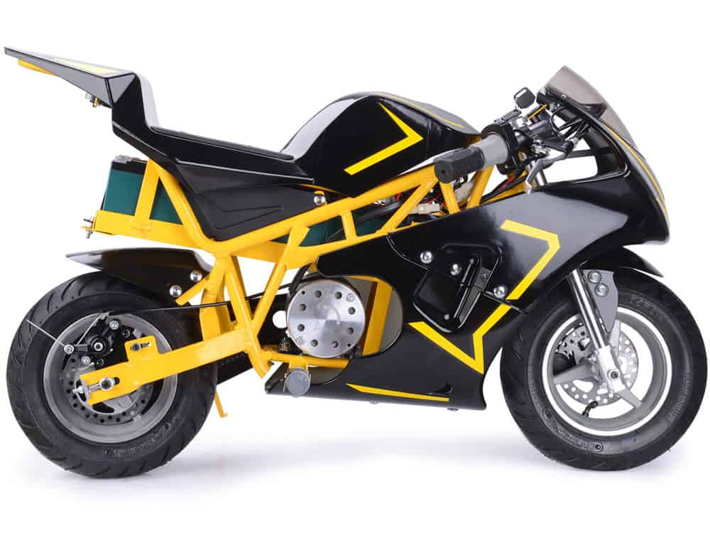 mototec 36v 500w electric pocket bike gp yellow toy. Black Bedroom Furniture Sets. Home Design Ideas